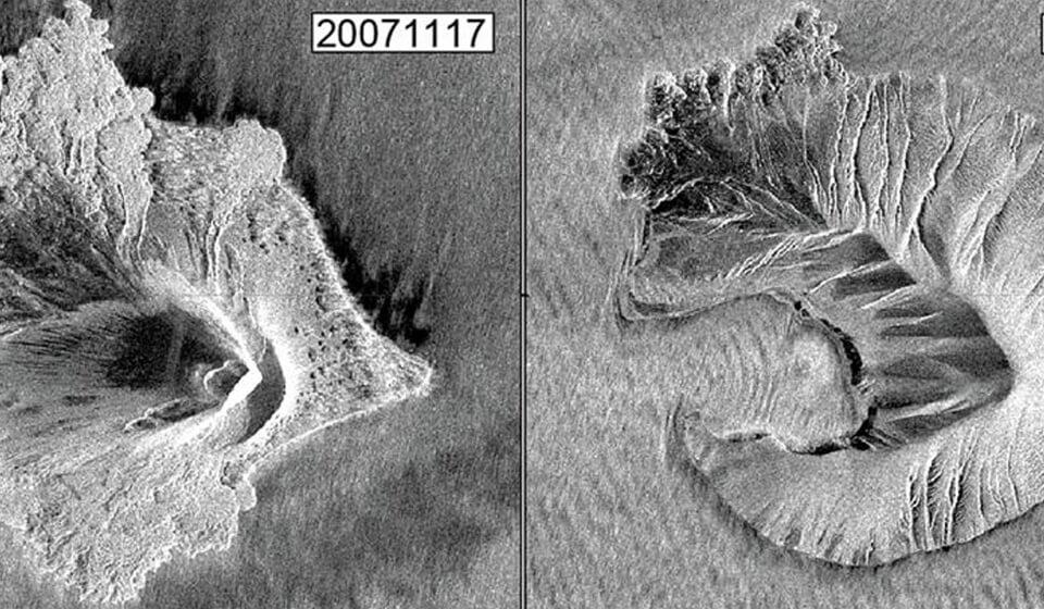Vorher-Nachher Radarbilder zeigen die Veränderungen des Krakatau-Vulkans in Indonesien nach dem Tsunami 2018.