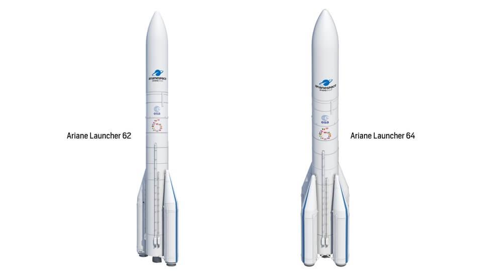 Grafische Darstellung der Ariane 6 in beiden Versionen: Ariane 62 und Ariane 64