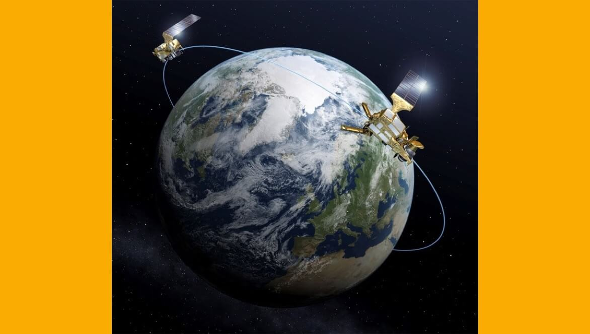 Die Grafik zeigt MetOp-SG Satelliten der A- und B-Serien, wie die die Erde umkreisen.