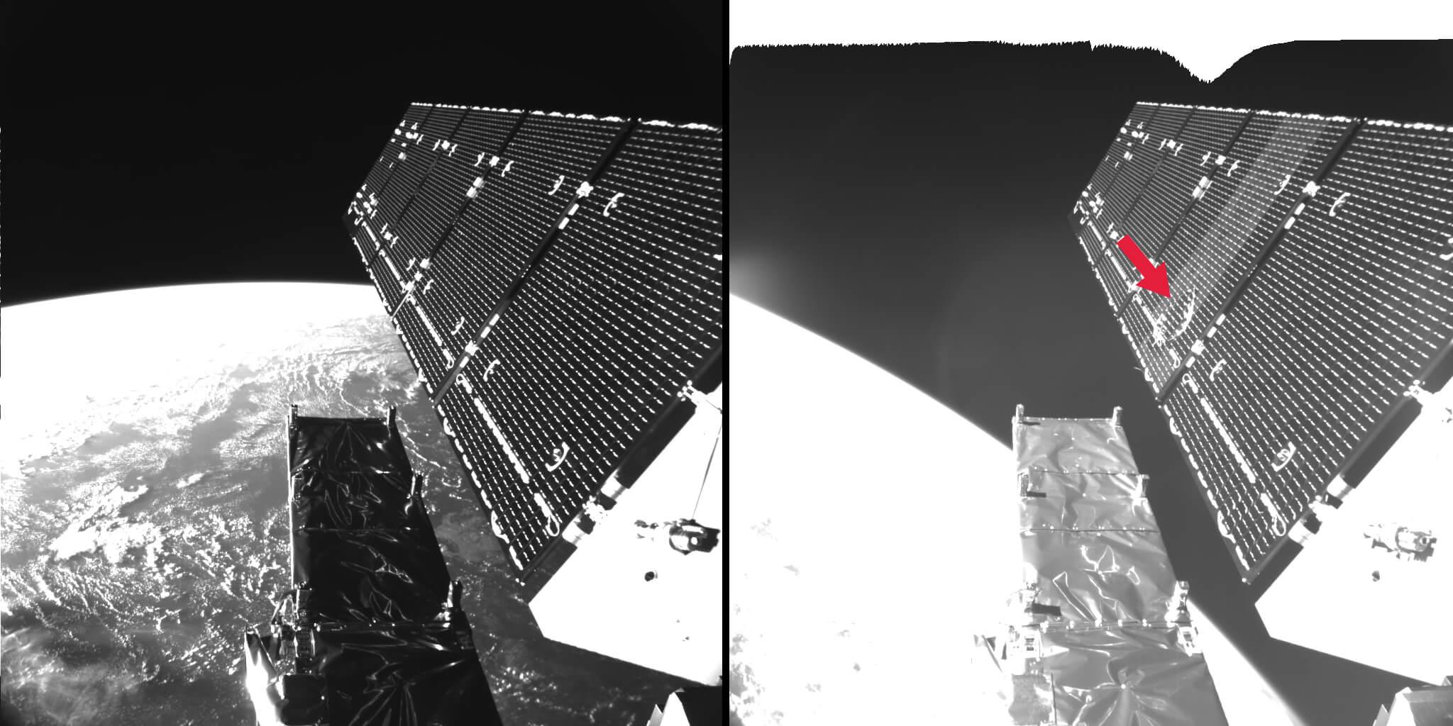 Der Solarflügel des Copernicus-Satelliten Sentinel-1A vor und nach dem Aufschlag eines etwa fünf millimetergroßen Space Debris-Teilchens