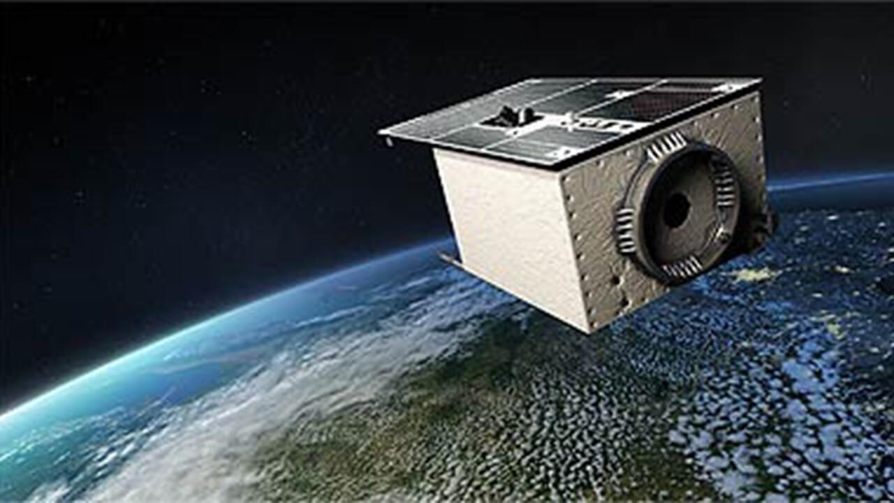 Grafische Darstellung des Satelliten EnMAP im Orbit.